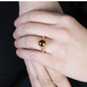 Yellow Gold Chequer-cut Garnet Coronation Ring