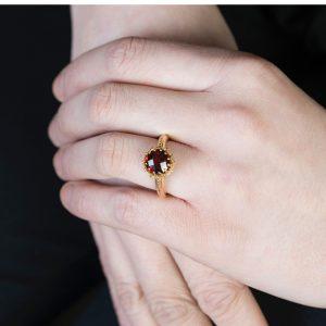 Yellow Gold Chequer-cut Garnet Coronation Ring