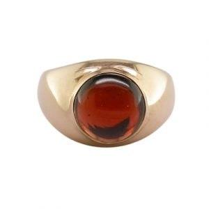 Garnet single stone bubble ring rose gold
