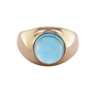 Blue topaz single stone bubble ring rose gold