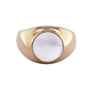 Moonstone single stone bubble ring rose gold