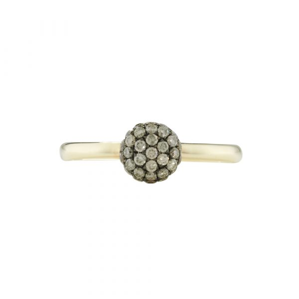 Brown cappuccino diamond ball cluster ring yellow gold