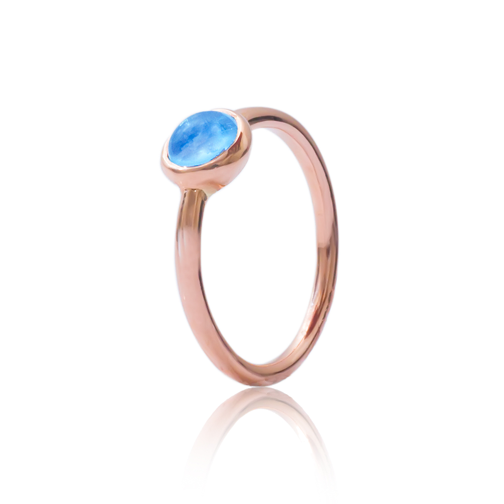Blue topaz bubble stack ring rose gold