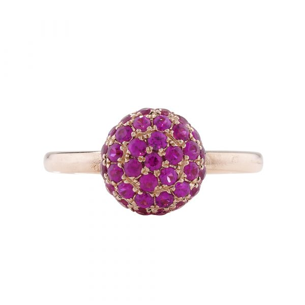 Ruby ball cluster ring rose gold
