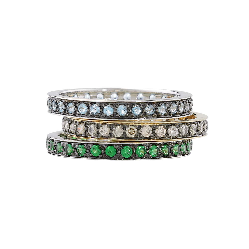 Designer White Gold Tsavorite, Cappuccino Diamond and Blue Topaz Eternity Stack Rings
