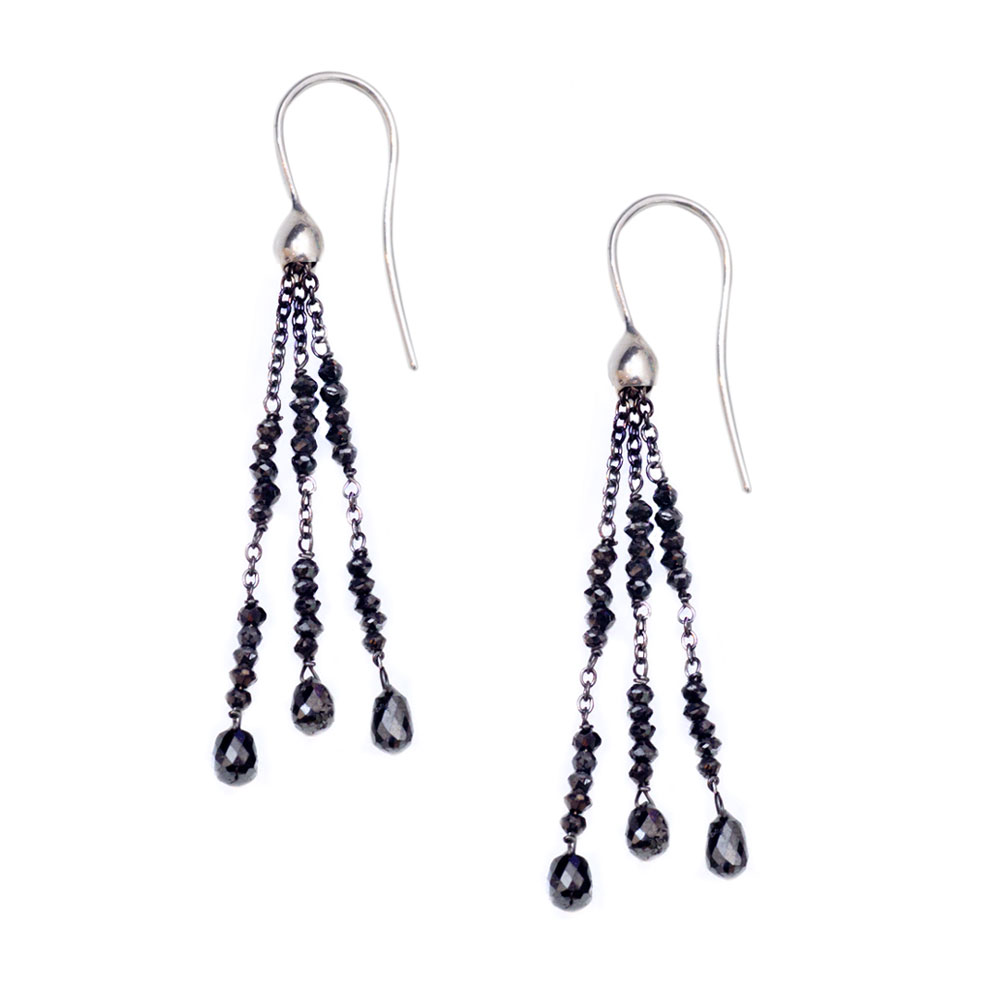Exclusive Black Diamond White Gold Tassel Drop Earrings