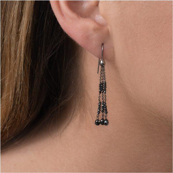 White gold black diamond bead drop earrings