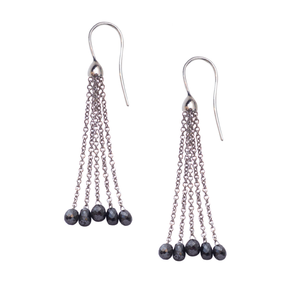 Black diamond bead drop earrings white gold