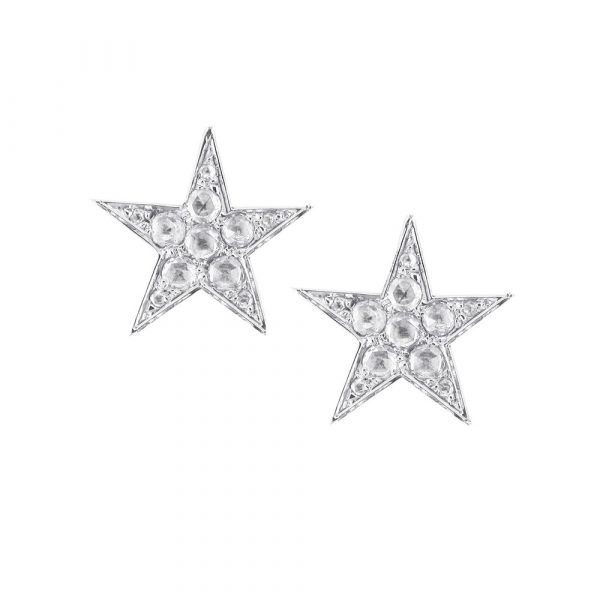Diamond star stud earrings white gold