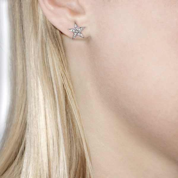 White Gold Rose Cut Diamond Star Starry Night Earrings
