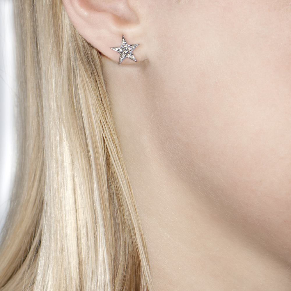 White Gold Rose Cut Diamond Star Starry Night Earrings