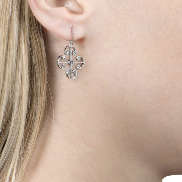 White Gold Brilliant Cut Diamond Lattice Earrings
