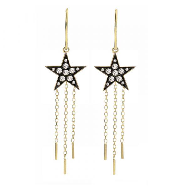 Diamond star drop earrings yellow gold