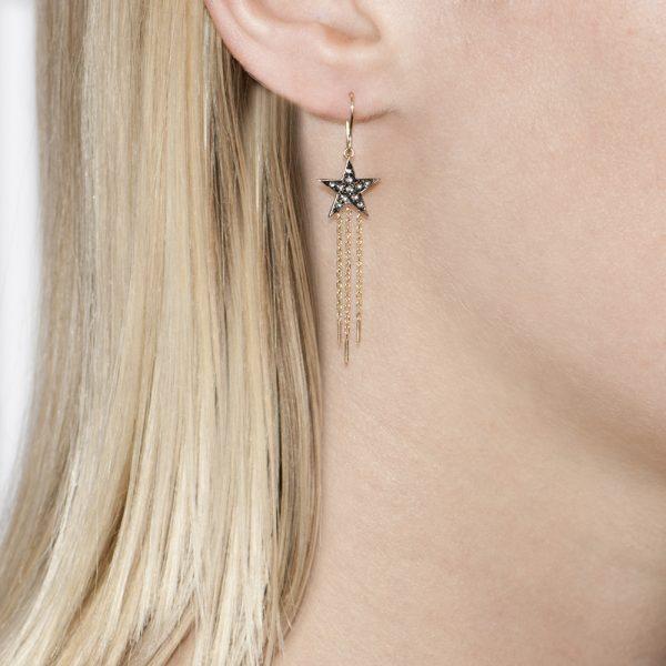 Yellow Gold Rose Cut Diamond Star Drop Starry Night Earrings