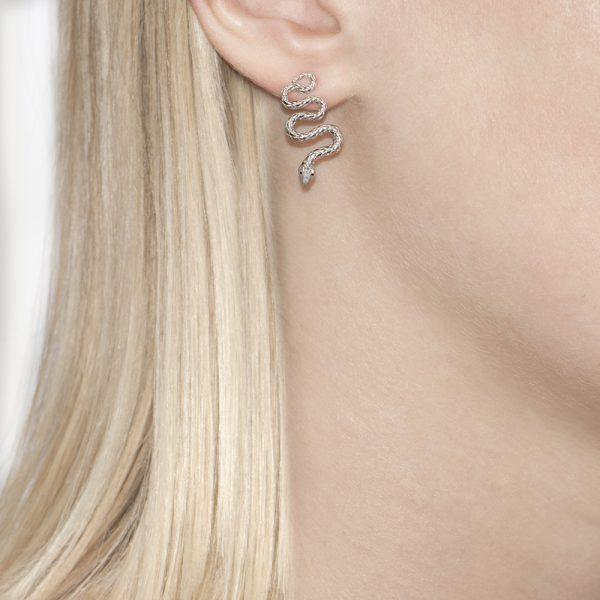 Silver Kew Serpent Drop Earrings