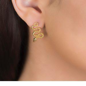 Yellow Gold Kew Serpent Drop Earrings