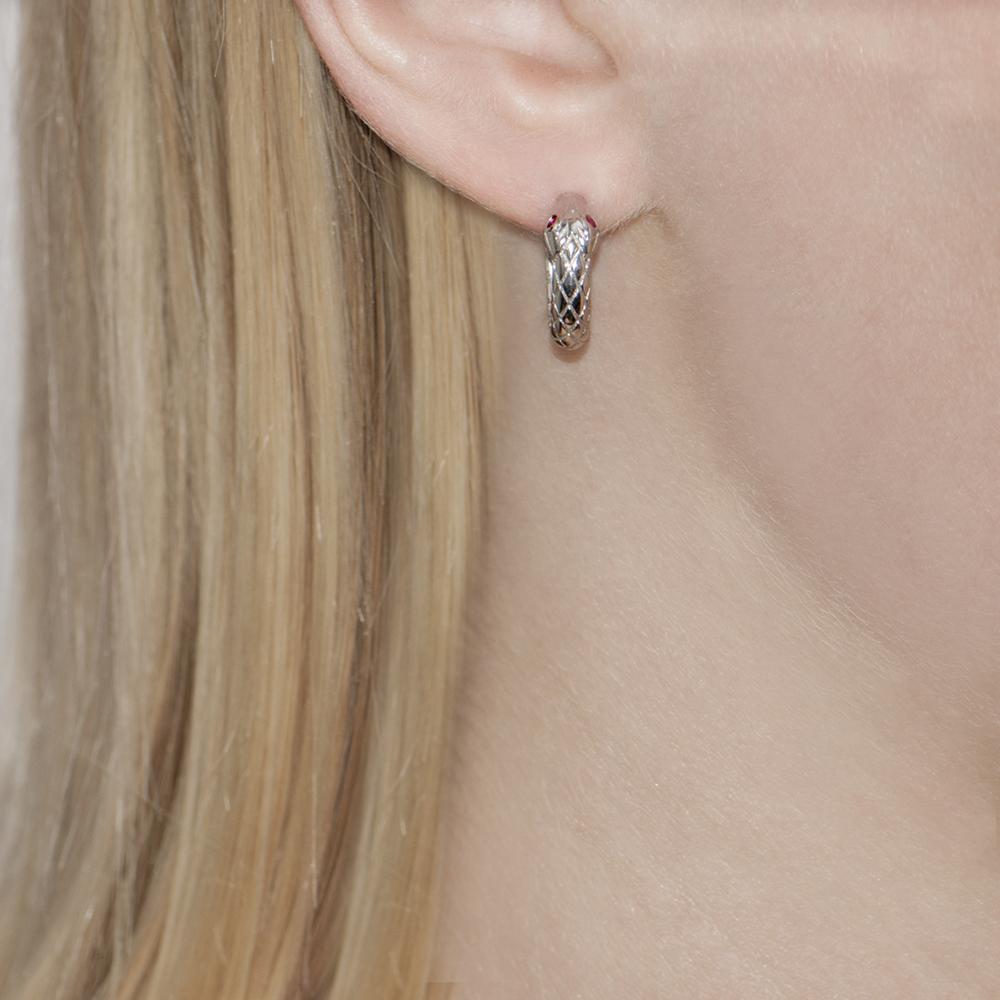 Silver Ruby Kew Serpent Hoop Earrings