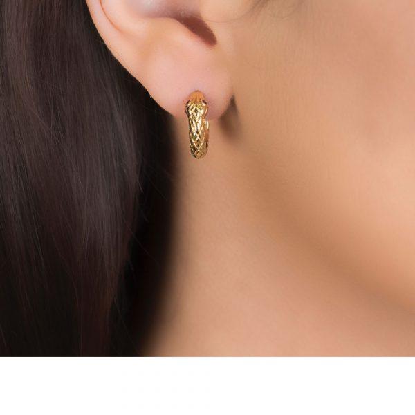 Yellow Gold and Ruby Kew Serpent Hoop Earrings