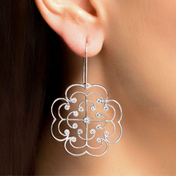White gold diamond Lattice drop earrings