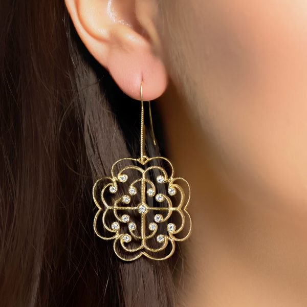 Yellow gold diamond drop Lattice earrings