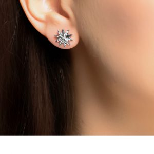 White Gold Diamond Velvet Leaf Stud Earrings