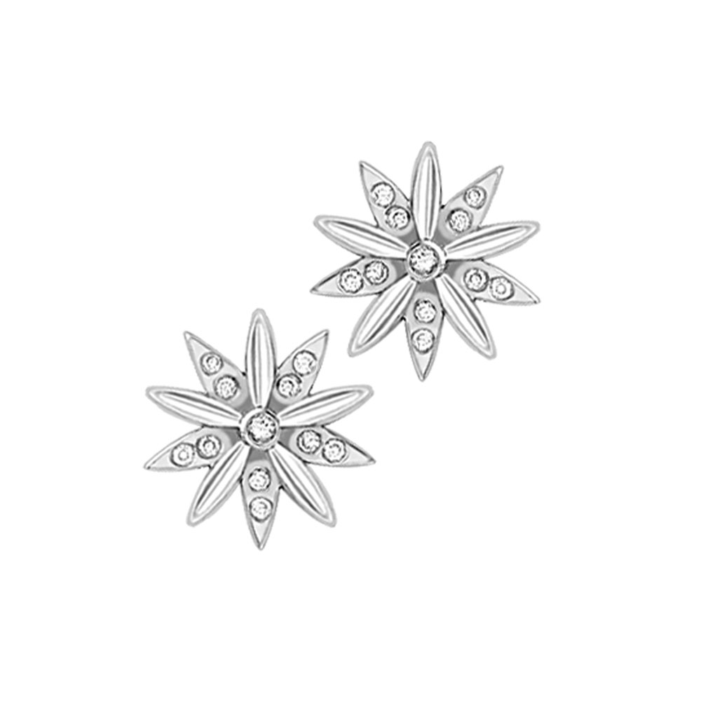 Beautiful White Gold Diamond Velvet Leaf Snowflake Stud Earrings