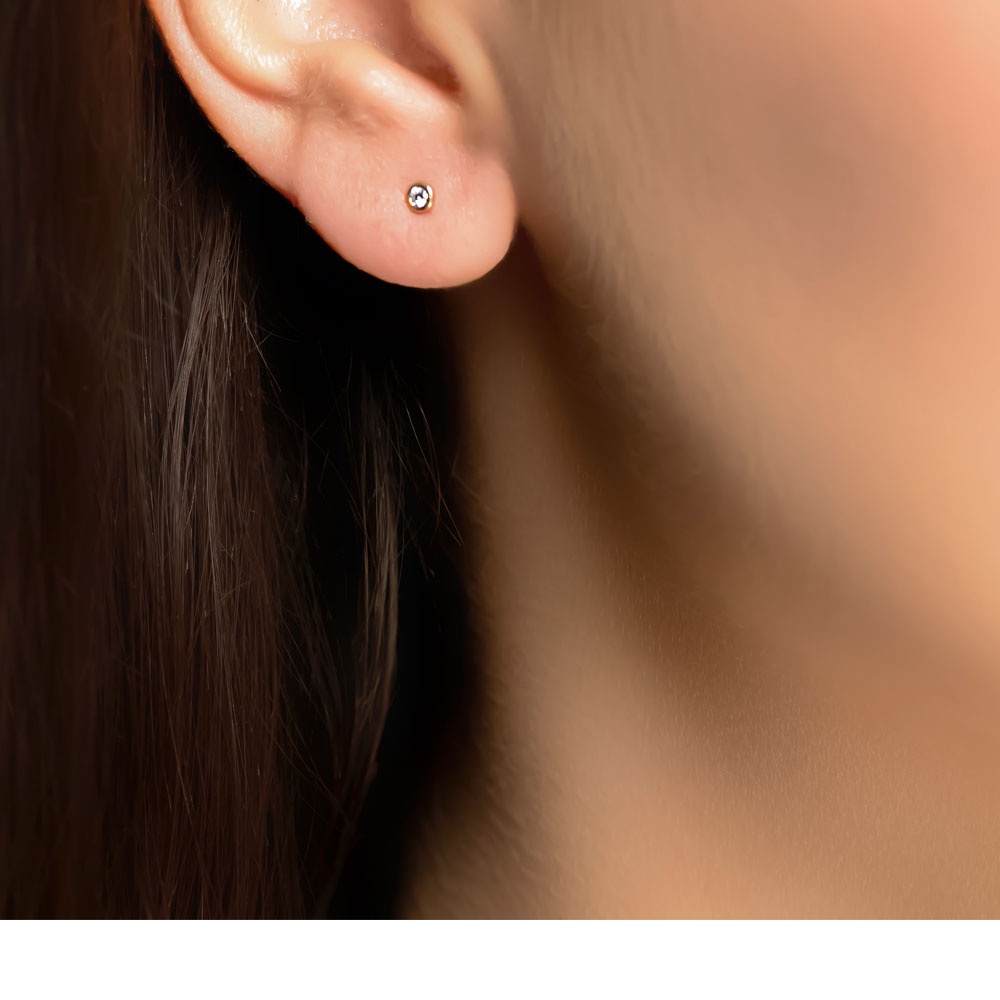 Rose gold diamond single stone raindrop earrings