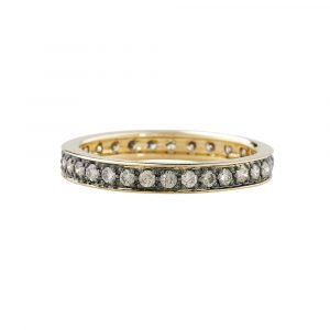 Brown cappuccino diamond full eternity stack ring yellow gold