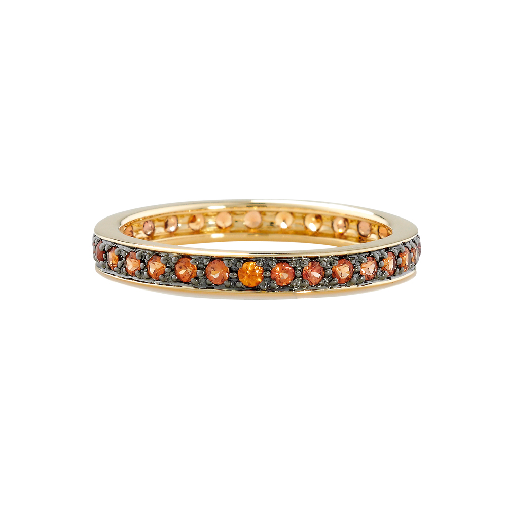 Orange sapphire full eternity stack ring yellow gold