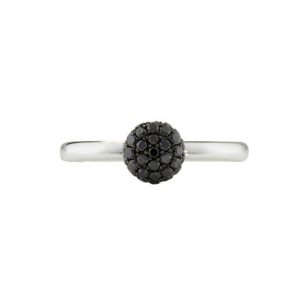 Black diamond ball cluster ring white gold