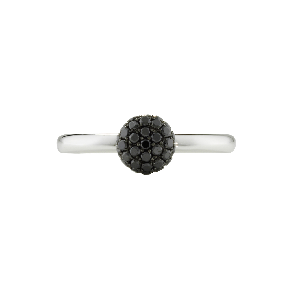 Black diamond ball cluster ring white gold