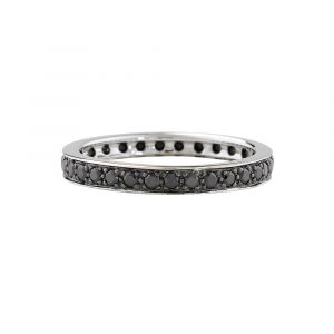 Black diamond full eternity stack ring white gold