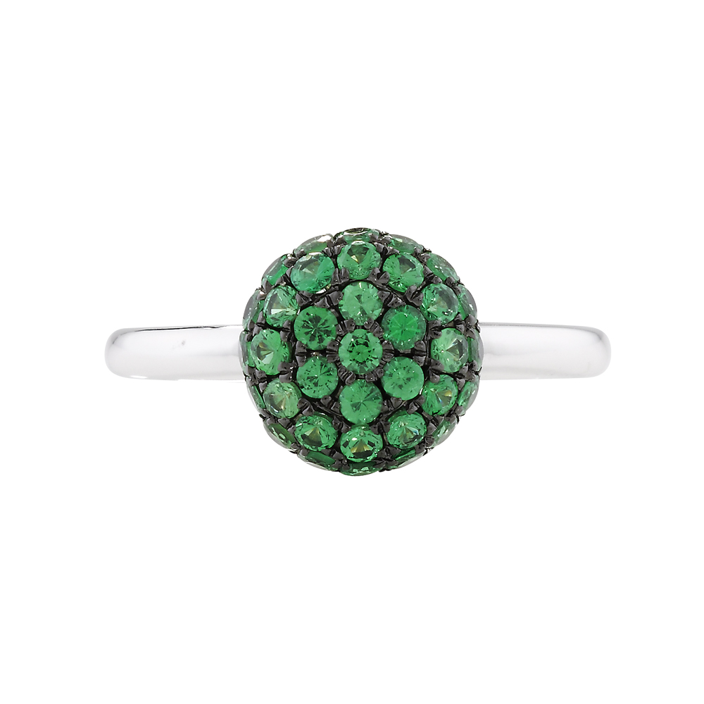 Tsavorite garnet ball cluster ring white gold