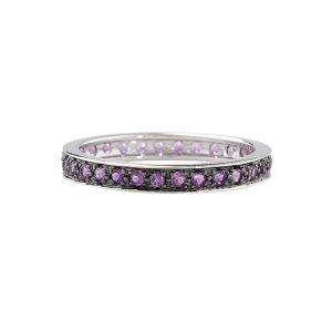 Amethyst full eternity stack ring white gold