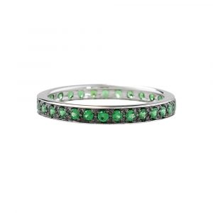 Tsavorite garnet full eternity stack ring white gold