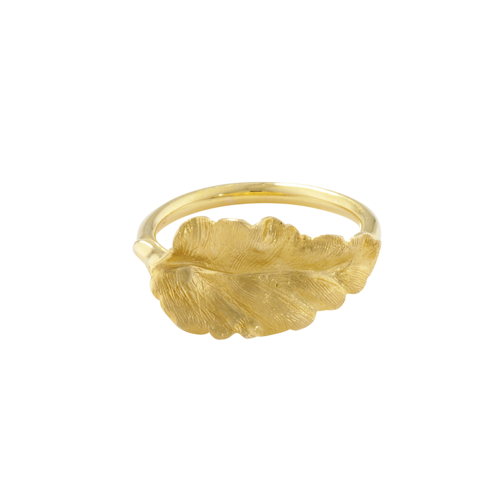 Golden leaf ring yellow gold