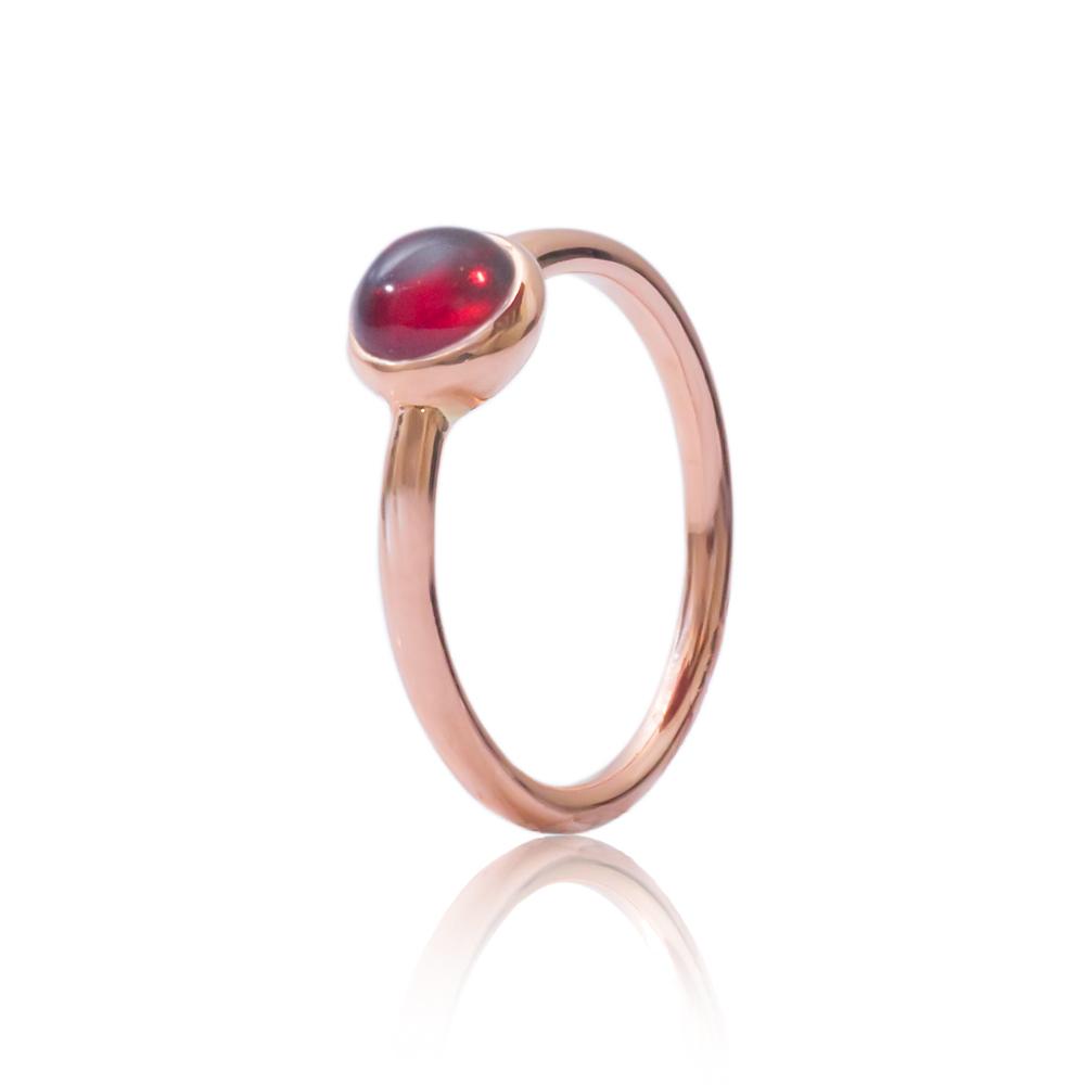 Modern Rose Gold Garnet Bubble Stacking Ring