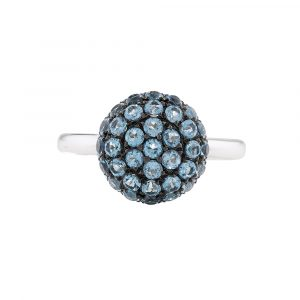 Blue topaz ball cluster ring white gold