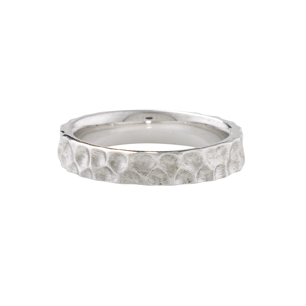 modern white gold hammered stack ring london road jewellery