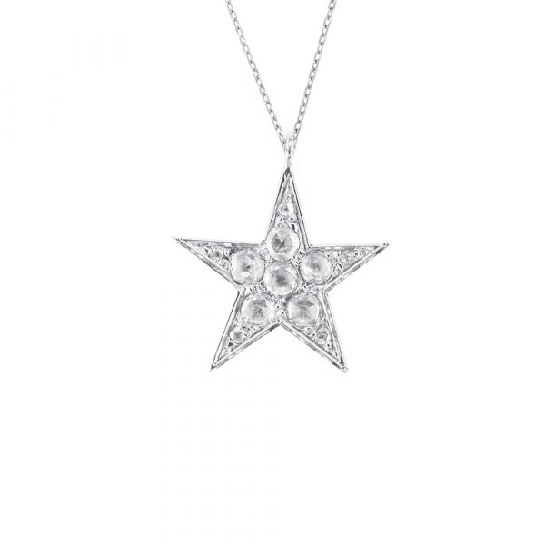 Diamond star pendant white gold
