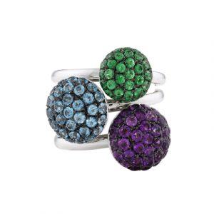 Amethyst blue topaz tsavorite garnet ball cluster rings white gold