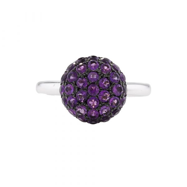 Amethyst cluster ball ring white gold