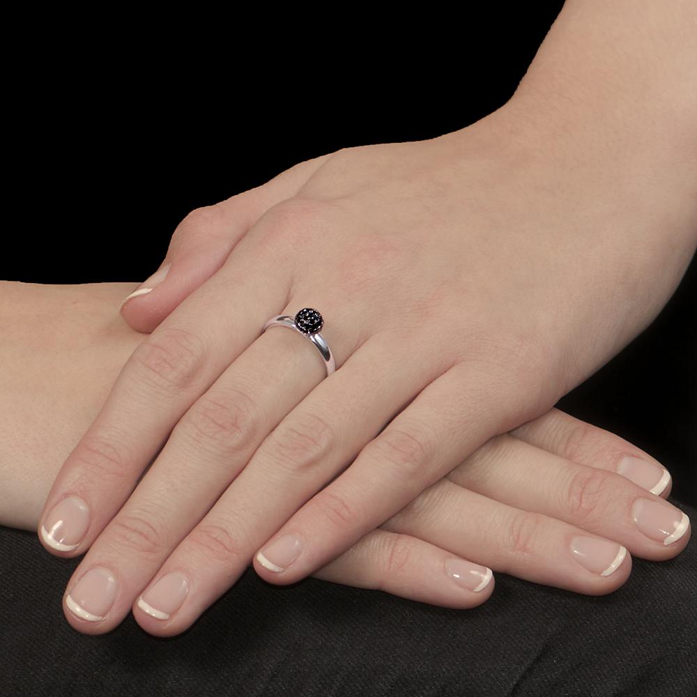 White gold black diamond ball cluster ring