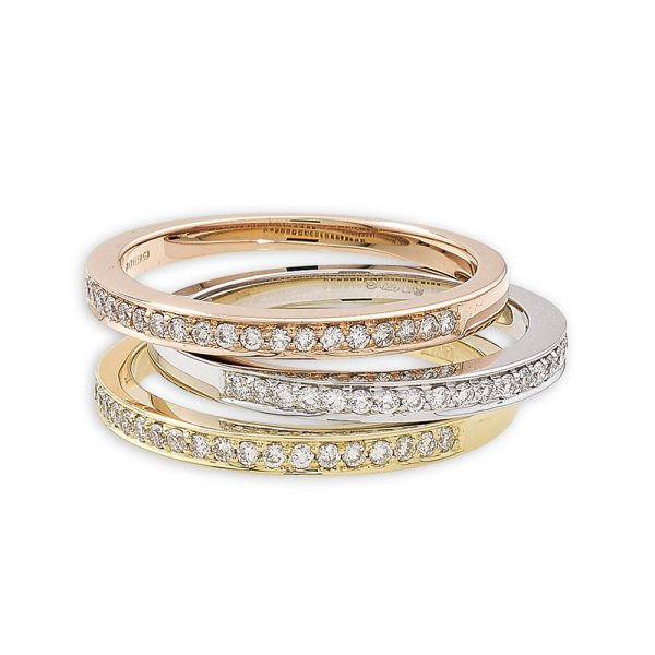Diamond eternity stack rings rose yellow and white gold