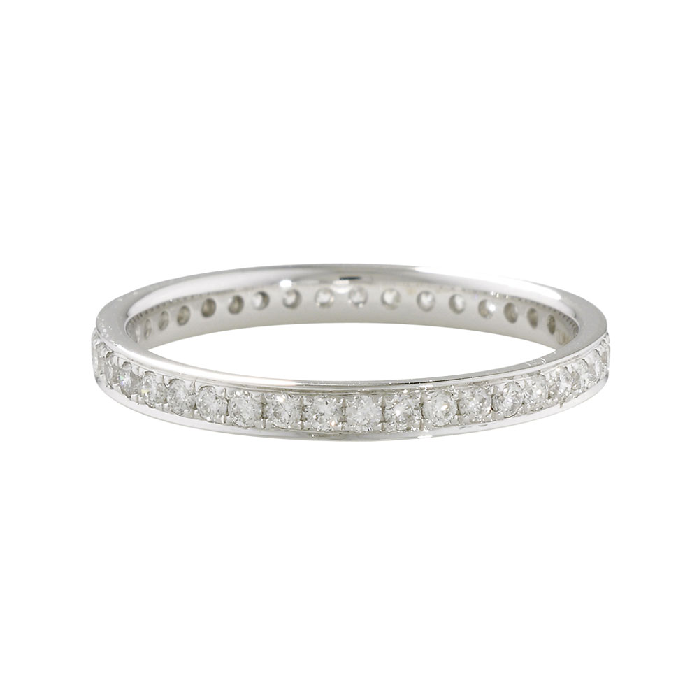 Luxury White Diamond Grain Set Eternity Stack Ring