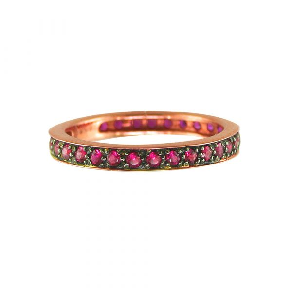 Ruby stack ring rose gold