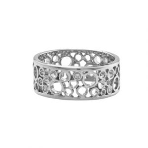 Diamond bubble ring white gold