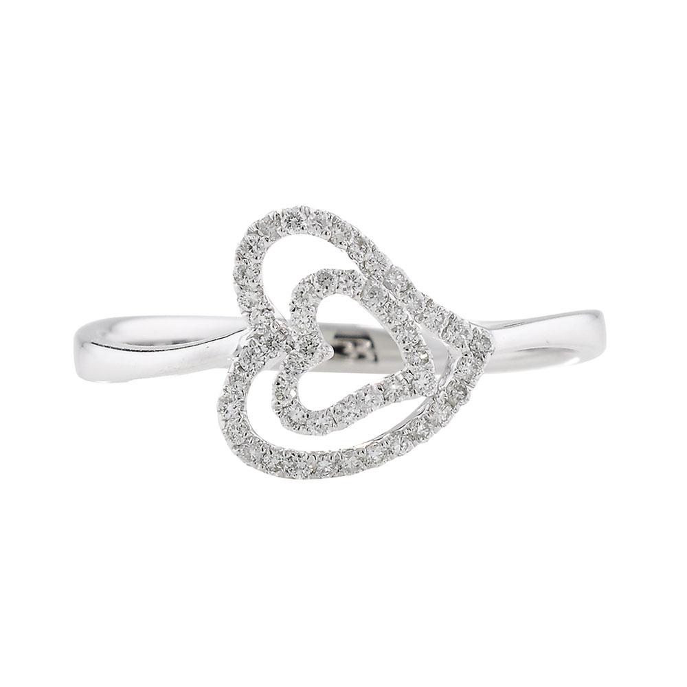 Diamond open heart cluster ring white gold