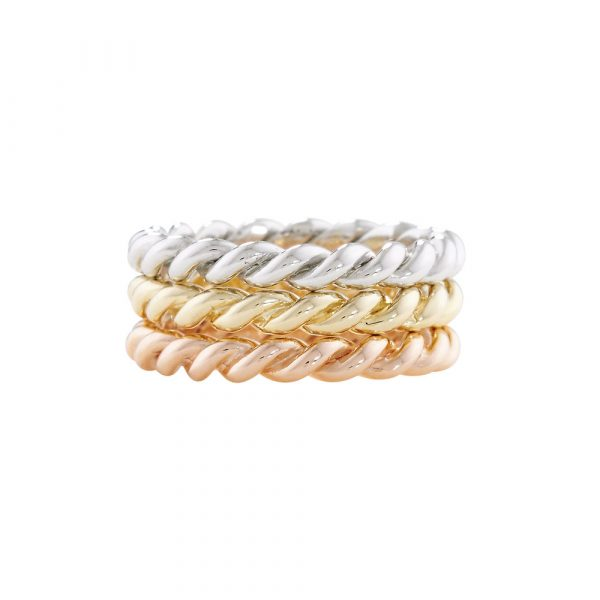 Rope stack rings rose yellow and white gold