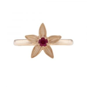 Ruby starflower ring rose gold